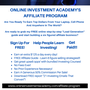 Online Investment Academy's Affiliate Program online investment academy stories