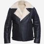 Open Cuffs Men's B3 Genuine Sheepskin Shearing Leather Jacket sheepskin shearing leather jacket stories