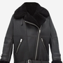 B3 Leather Shearling Women Pitch Black Jacket with Outside Pockets women jacket stories